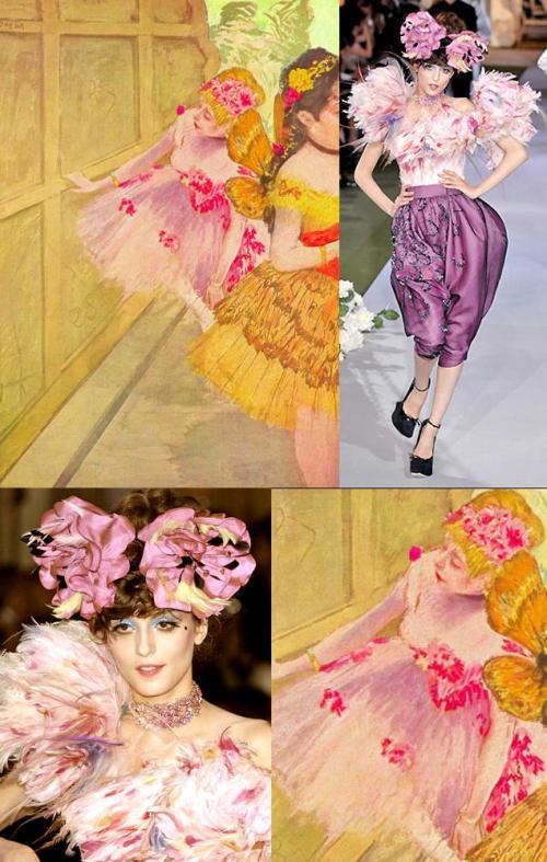 Moda e Arte - John Galliano para Dior - 2007 - Bailarinas por trás das coxias - Degas