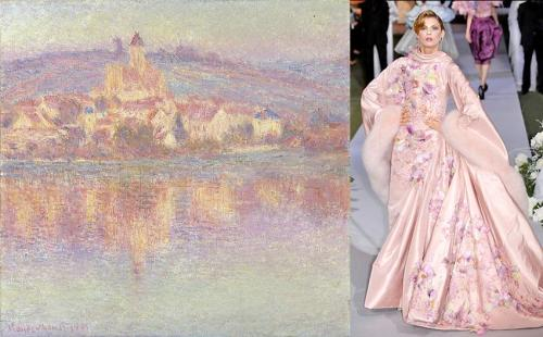 Moda e Arte - John Galliano para Dior - 2007 - Vétheuil by Claude Monet - 1901